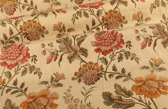 English Garden Floral Upholstery Fabric In Linen Traditional
