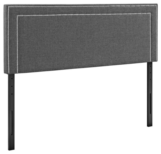 Jessamine Queen Upholstered Fabric Headboard, Gray.