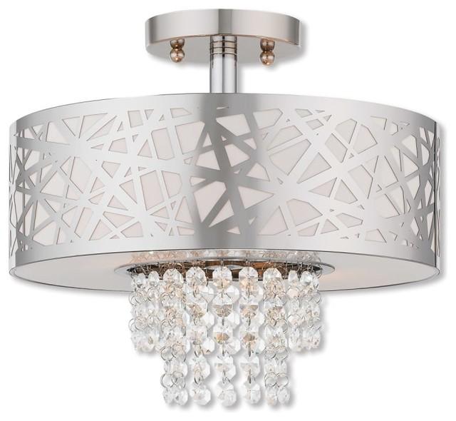 Livex Lighting 40762 Allendale 2 Light Semi Flush Ceiling Fixture.