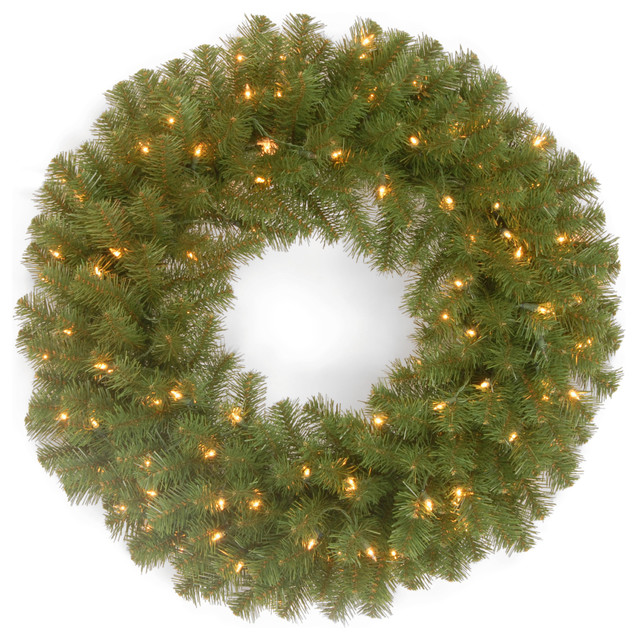 """24"""" North Valley Spruce Wreath With Clear Lights."""
