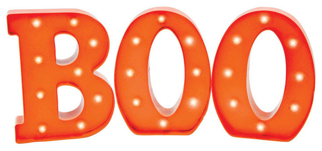 Sienna LED Battery Operated Halloween Boo Sign, Orange