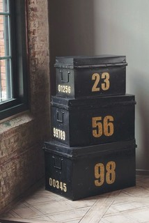 metal stacking trunks decorative trunks by mothology. Black Bedroom Furniture Sets. Home Design Ideas