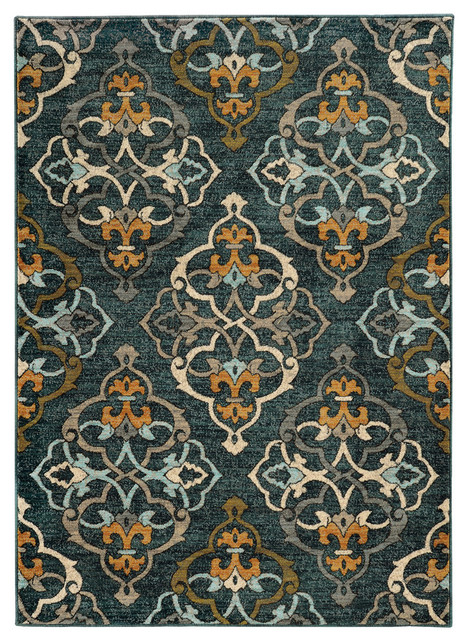 "Rufus Quatrefoil Rug, Blue And Gold, 5&x27;3""x7&x27;6""."