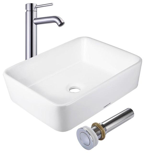 "Aquaterior 19x15"" Rectangle Porcelain Ceramic Vessel Sink With Drain & Faucet"