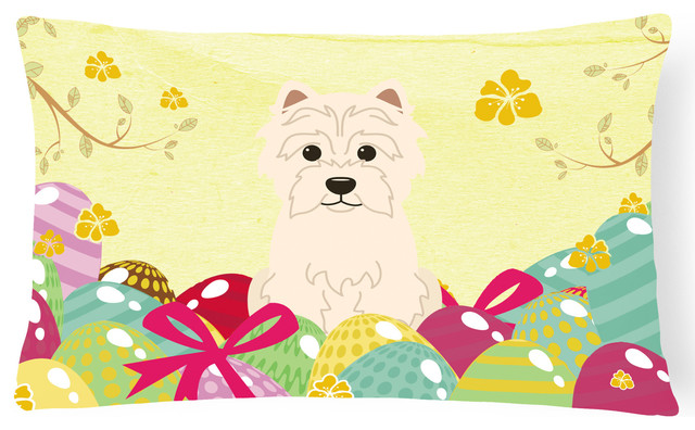 Easter Eggs Westie Canvas Fabric Decorative Pillow