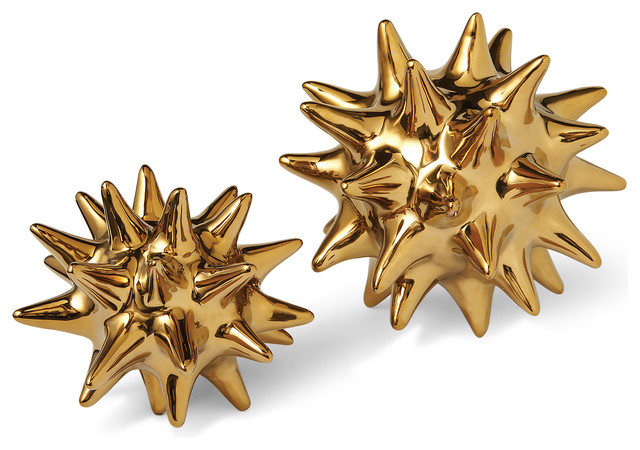 Cousteau Coastal Beach Bright Gold Sea Urchin Sculptures, Set Of 2.