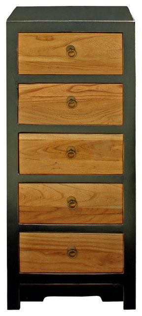 Black & Brown Five Drawers Slim Chest Of Drawers Cabinet Hcs4184.