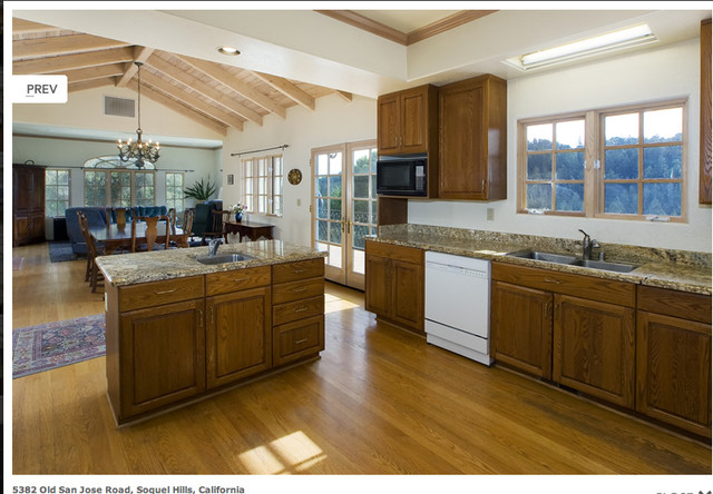 Open floor plan kitchen dining living traditional for Traditional open floor plans
