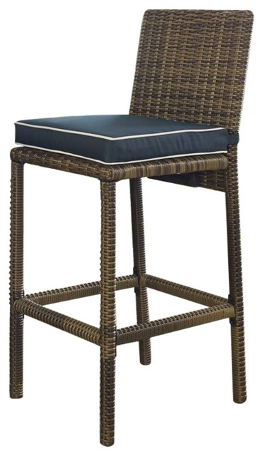 Crosley Bradenton Outdoor Wicker Bar Stool With Navy  : tropical outdoor bar stools and counter stools from www.houzz.com size 370 x 640 jpeg 53kB