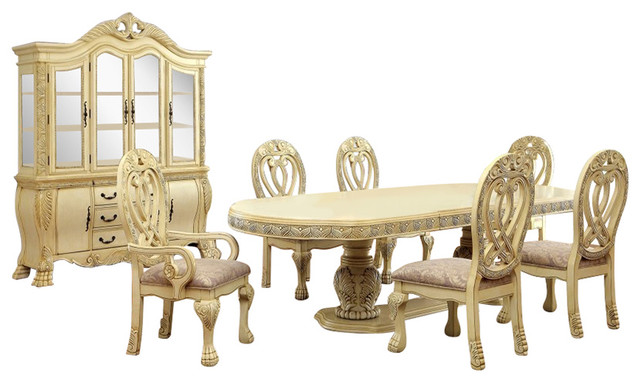Great Wyndmere Royal Presence Cherry Finish Formal Dining Room Table 7 Piece Set,  Whit Victorian