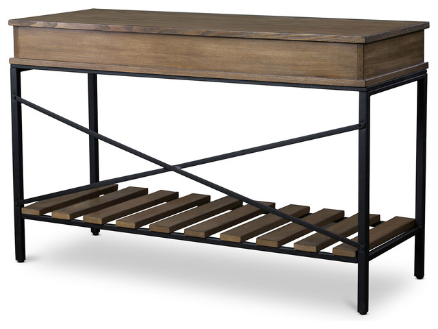 Newcastle Wood and Metal Console Table  Criss Cross industrial console  tables. Newcastle Wood and Metal Console Table  Criss Cross   Industrial