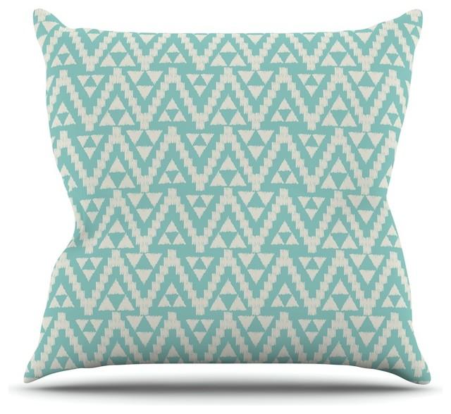 Amanda Lane Geo Tribal Turquoise Sky Teal Aztec Throw Pillow Unique Aztec Decorative Pillows