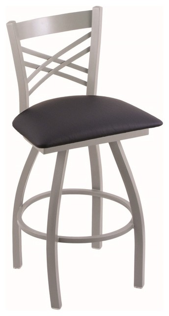 "Xl 820 Catalina 25"" Counter Stool, Anodized Nickel, Allante Dark Blue Seat."