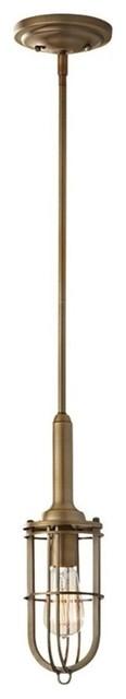 Feiss Urban Renewal 1-Light Mini Pendant, Dark Antique Brass.