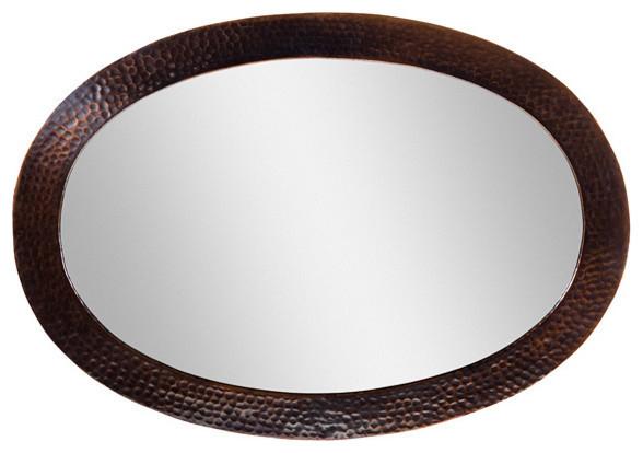 Solid Hammered Copper Framed Oval Mirror Antique Finish