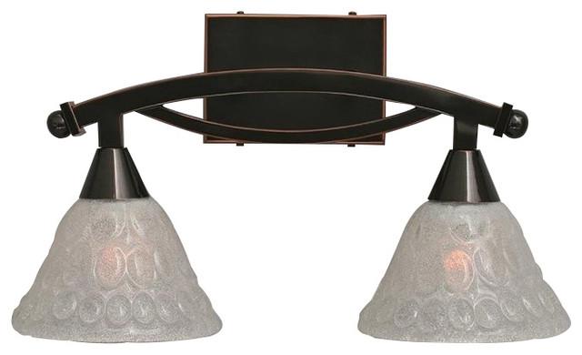 Bubble Glass Vanity Light : Toltec Bow 2-Light Bath Bar, Black Copper With 7