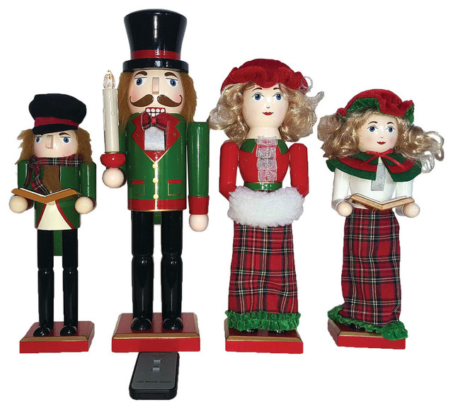 """Set Of 4 15 To 18 Victorian Carolers By Santa S Workshop: 14""""-10"""" Dickens LED Carolers Nutcrackers, Set Of 4"""