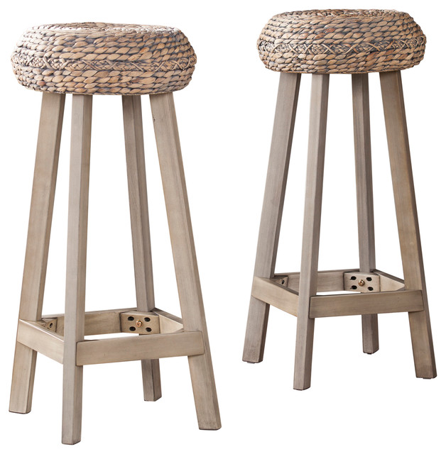 Terrific Talor Round Backless Water Hyacinth 30 Bar Stools Set Of 2 Pdpeps Interior Chair Design Pdpepsorg