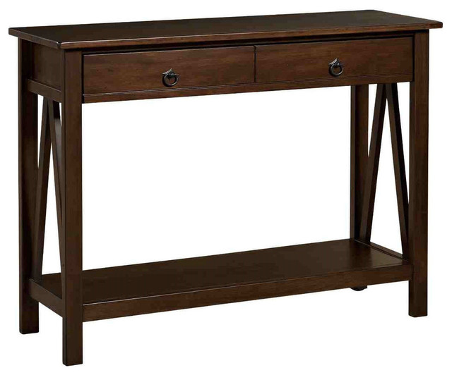 2 Drawer Console Sofa Table Living Room Storage Shelf Tobacco Brown Console Tables By