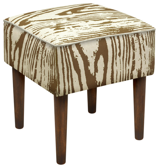 Tan Faux Bois Modern Vanity Stool Contemporary