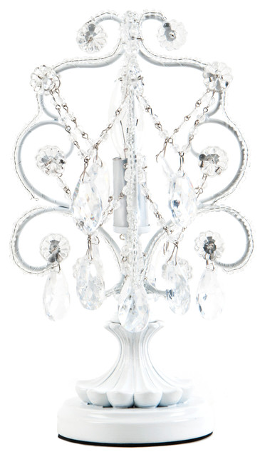 Chandelier Mini Table Lamp, White.