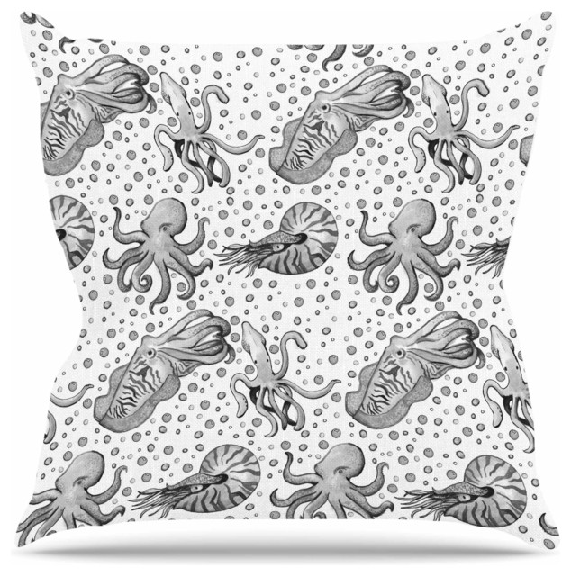 Stephanie Vaeth Quot Cephalopods Quot Gray White Throw Pillow