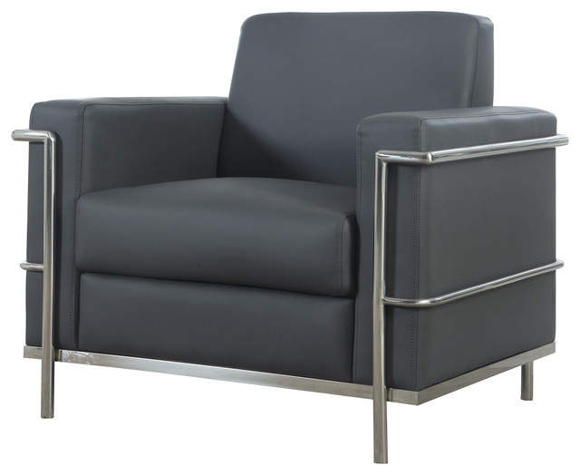 Hilton Faux Leather Accent Arm Chair, Gray Modern Armchairs And Accent