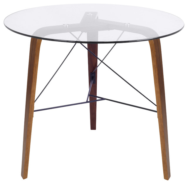 lumisource Trilogy Modern Table in Walnut Wood With  Black Frame