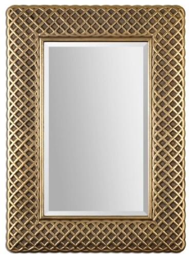 08115 carressa 42 decorative mirror lightly antiqued gold leaf finish contemporary wall mirrors - Decorative Mirror