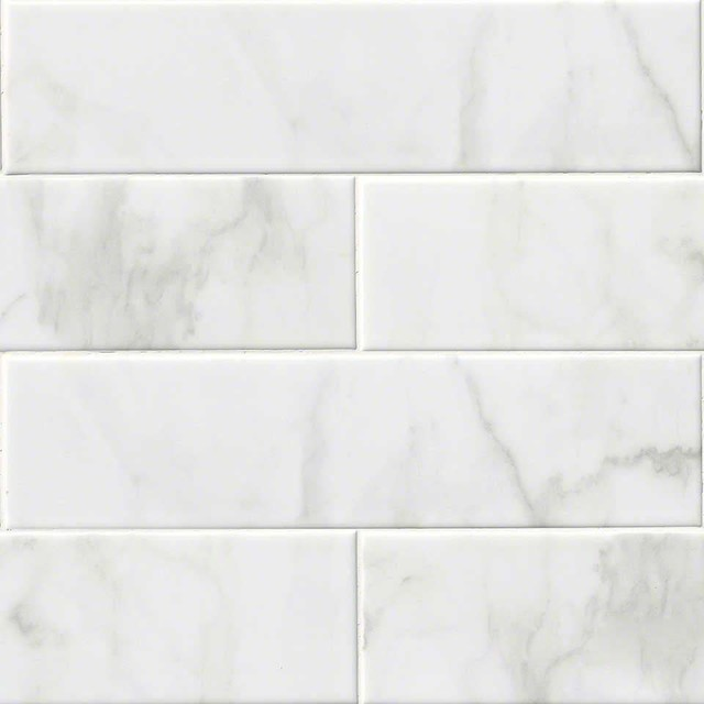 10 Pieces Of 4x16 Carrara White Ceramic Glossy Subway