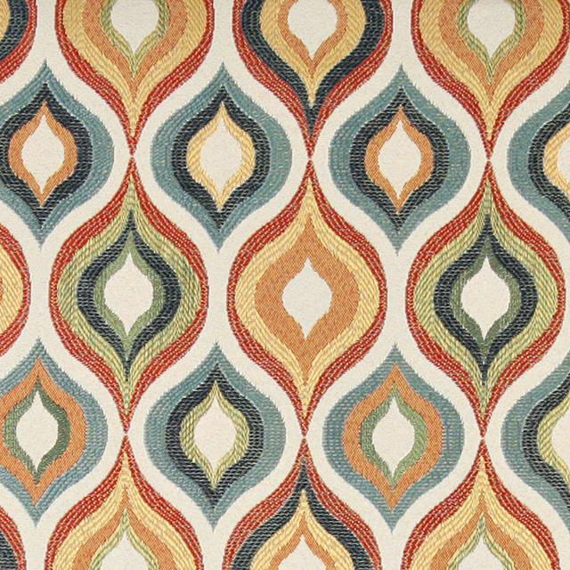 Red, Green, Blue, Orange and Gold, Contemporary Upholstery Fabric ...