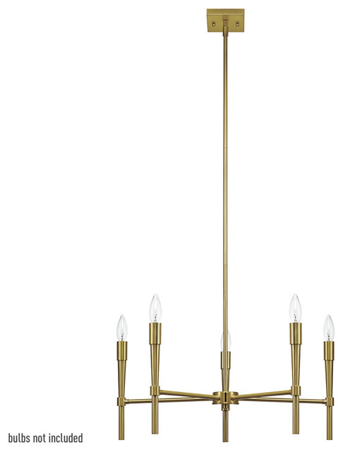 Phoenix 5-Light Chandelier, Brushed Brass. -1