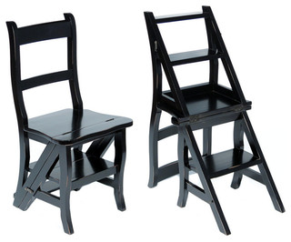 Solid Mahogany Distressed Black Convertible Ladder Chair