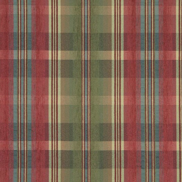 Green, Blue, Red And Yellow, Plaid Chenille Upholstery Grade Fabric ...