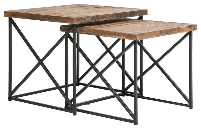 Argos Reclaimed Wood Nesting Tables 2 Piece Set Industrial