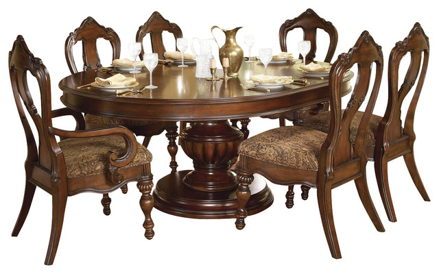 Homelegance Prenzo 7 Piece Pedestal Dining Room Set In Brown