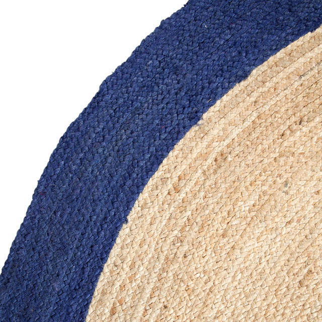 Leo Handmade Round Jute Dhurrie Rug With Blue Border, 6&x27;.