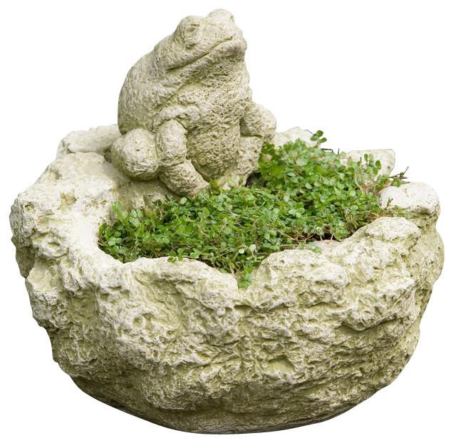 Campania Mini Frog Planter, Cast Stone Planter