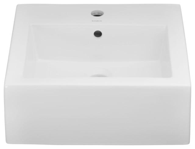 "Ronbow Bathroom Sinks ronbow essentials profile 18"" square ceramic vessel bathroom sink"
