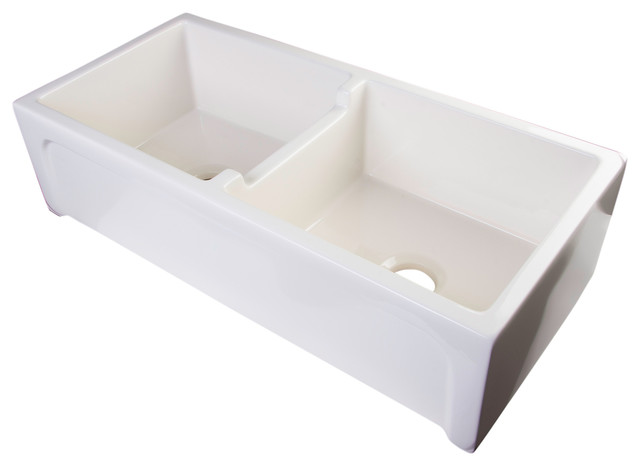 Alfi Ab3918arch B 39 Biscuit Arched A Wall Fireclay Double Bowl Farm Sink