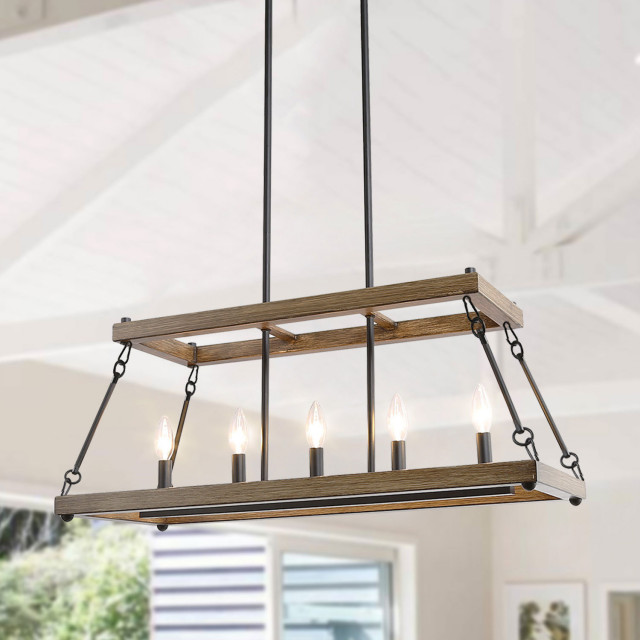 5 Light Kitchen Island Candle Chandelier Farmhouse Kitchen Island Lighting By Lnclighting Llc Houzz