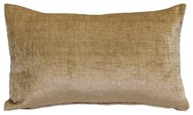 Pillow Decor, Venetian Velvet Golden Brown Throw Pillow 12x20.