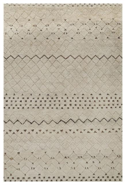 Sharfa Global Ivory Tribal Geometric Wool Jute Rug 4x6