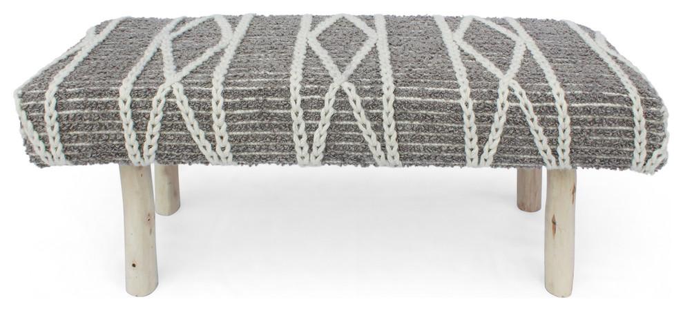 Artistic Weavers Aroha Global Bohemian Upholstered Bench Charcoal 16 x 34 x 12