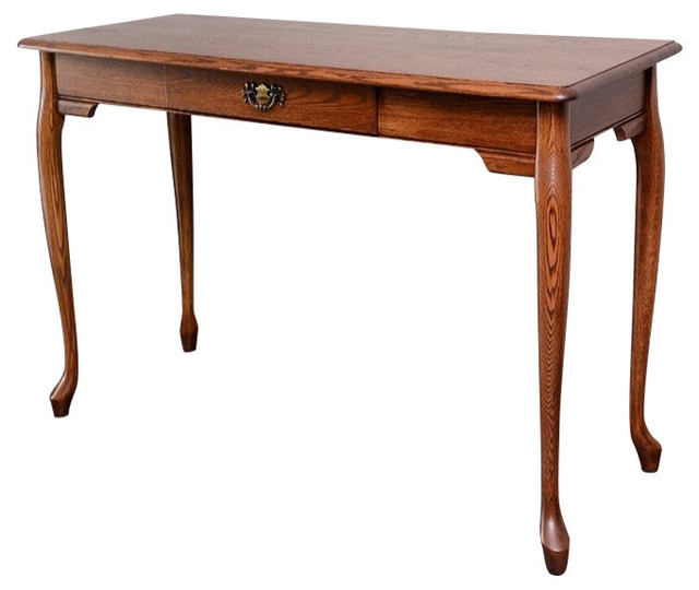 Queen Anne Solid Oak Home Office Computer Desk Traditional Desks And Hutches By The Oak
