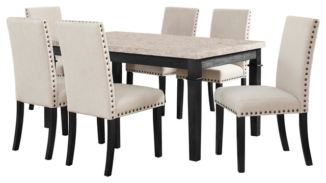 Bradley 7-Piece Dining Set Table And 6 Upholstered Side Chairs.