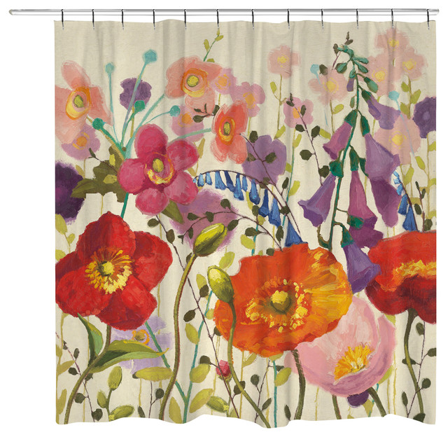 Laural Home - Couleur Printemps Shower Curtain - View in Your Room ...