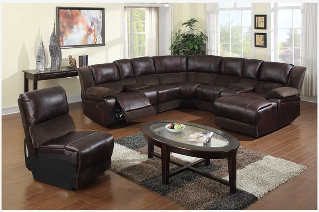 F brown microfiber leather reclining sectional sofa for Brown leather sectional with chaise