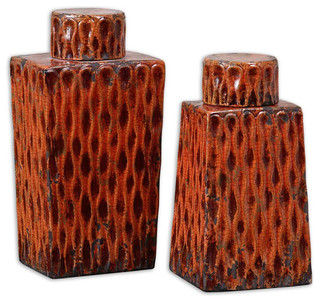 2-Piece Uttermost Raisa Burnt Orange Container Set - Traditional - Decorative Objects And Figurines - by VB Home Furniture