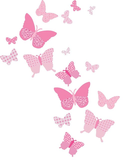 Vintage Butterfly Wall Decals, Pink Craftsman Wall Decals
